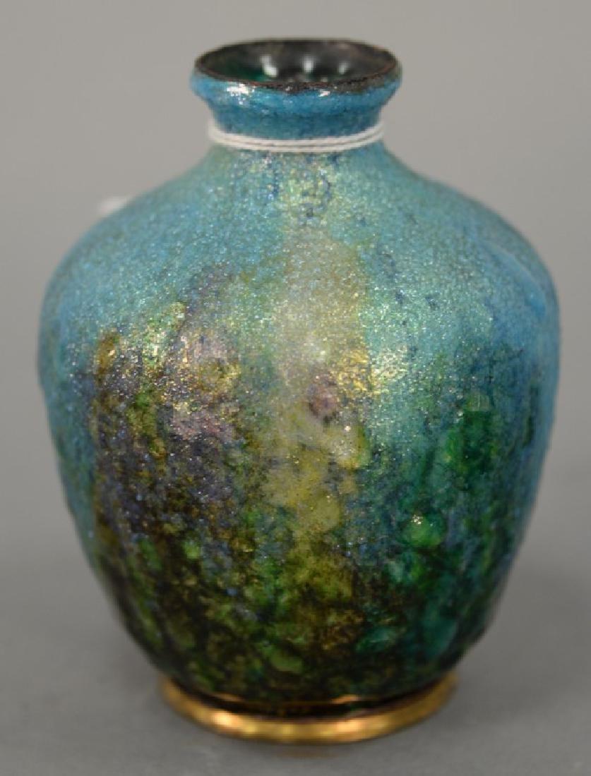 R. Bonnaud Limoges art nouveau enameled copper bud vase