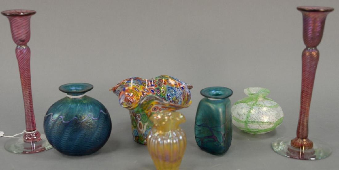 Seven art glass pieces to include four Robert Held art