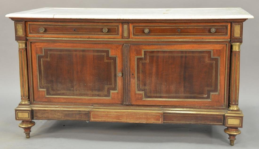 Victorian brass inlaid marble top chest (marble