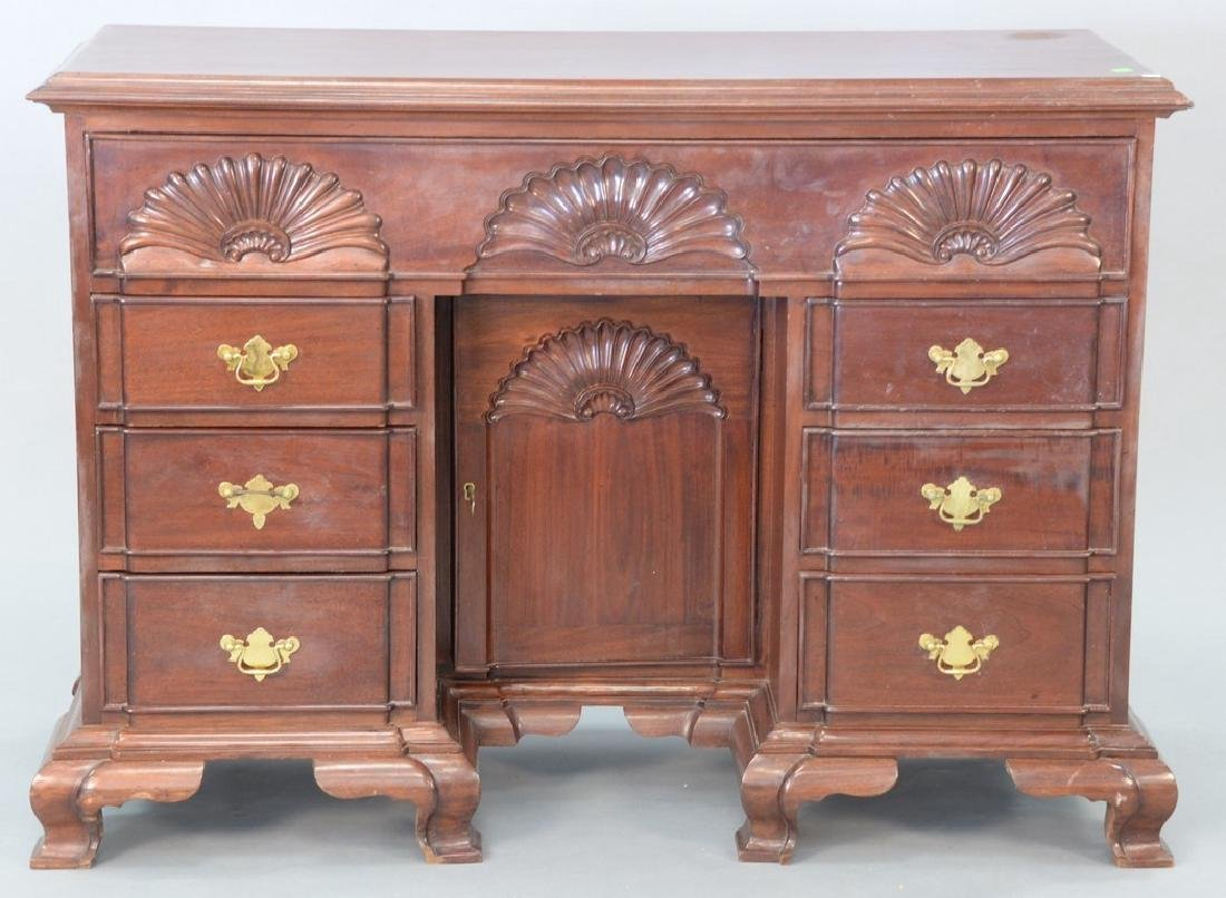 Mahogany Newport style block front desk. ht. 35 1/2in.,