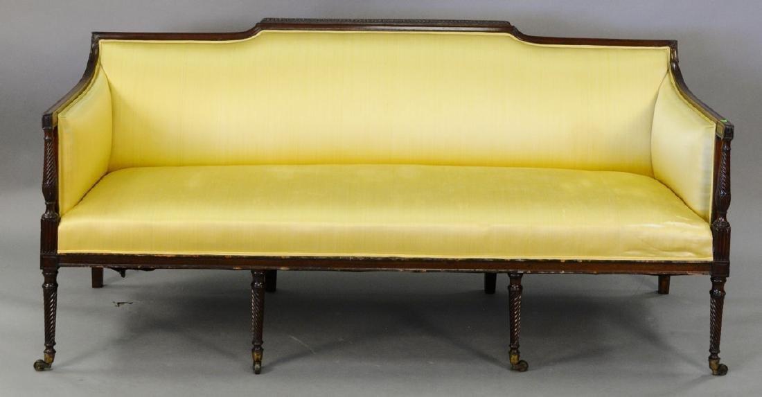 Silk upholstered sofa.
