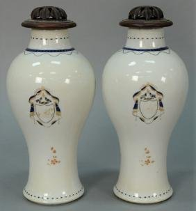Pair of Chinese export porcelain covered vases with