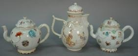 Three piece lot to include Chinese porcelain teapot