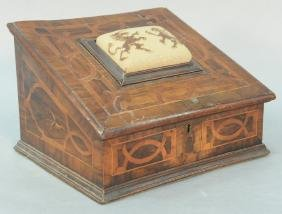 Continental inlaid sewing box with pin cushion top on