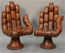 Style of Pedro Friedeberg, pair of carved wood hand