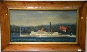 Paddle Wheeler Ship  oil on canvas  America  probably