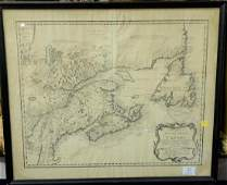Copper engraved double page map of North America and