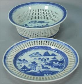 Two piece Canton reticulated oval dish along with