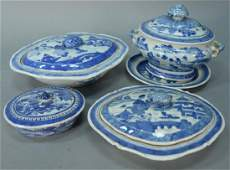 Four Chinese export blue and white porcelain Canton