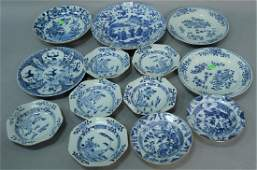 Thirteen piece lot of Chinese blue and white porcelain