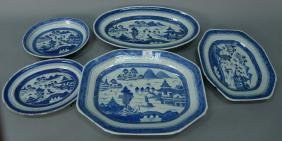 Five blue and white Canton trays including fish tray,