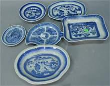 Six piece group of Chinese export porcelain blue and