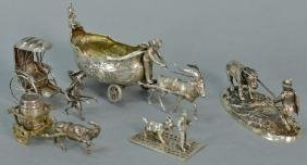 Five piece miniature silver lot with goats and