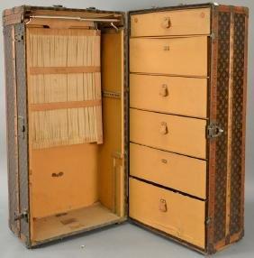 Louis Vuitton steamer trunk having six drawers inside,
