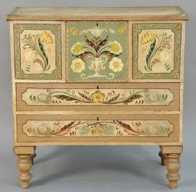 Federal lift top chest over two drawers set on turned