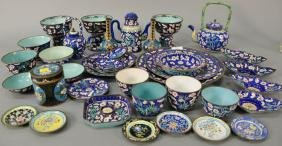 Chinese Copper And Enameled Tea And Coffee Set