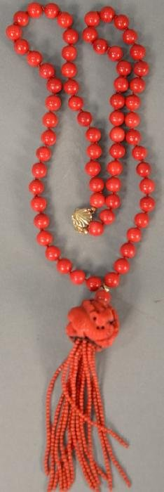 Red coral beaded necklace with 14K gold clasp.  beads