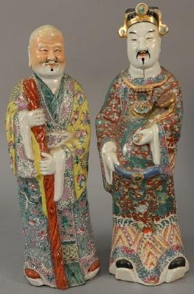 Two Chinese porcelain male figures.  height 19 inches
