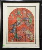 Marc Chagall  colored lithograph by Sorlier  stained