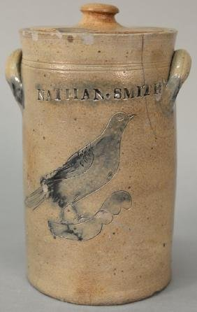 Stoneware crock with blue incised bird, Nathan Smith,