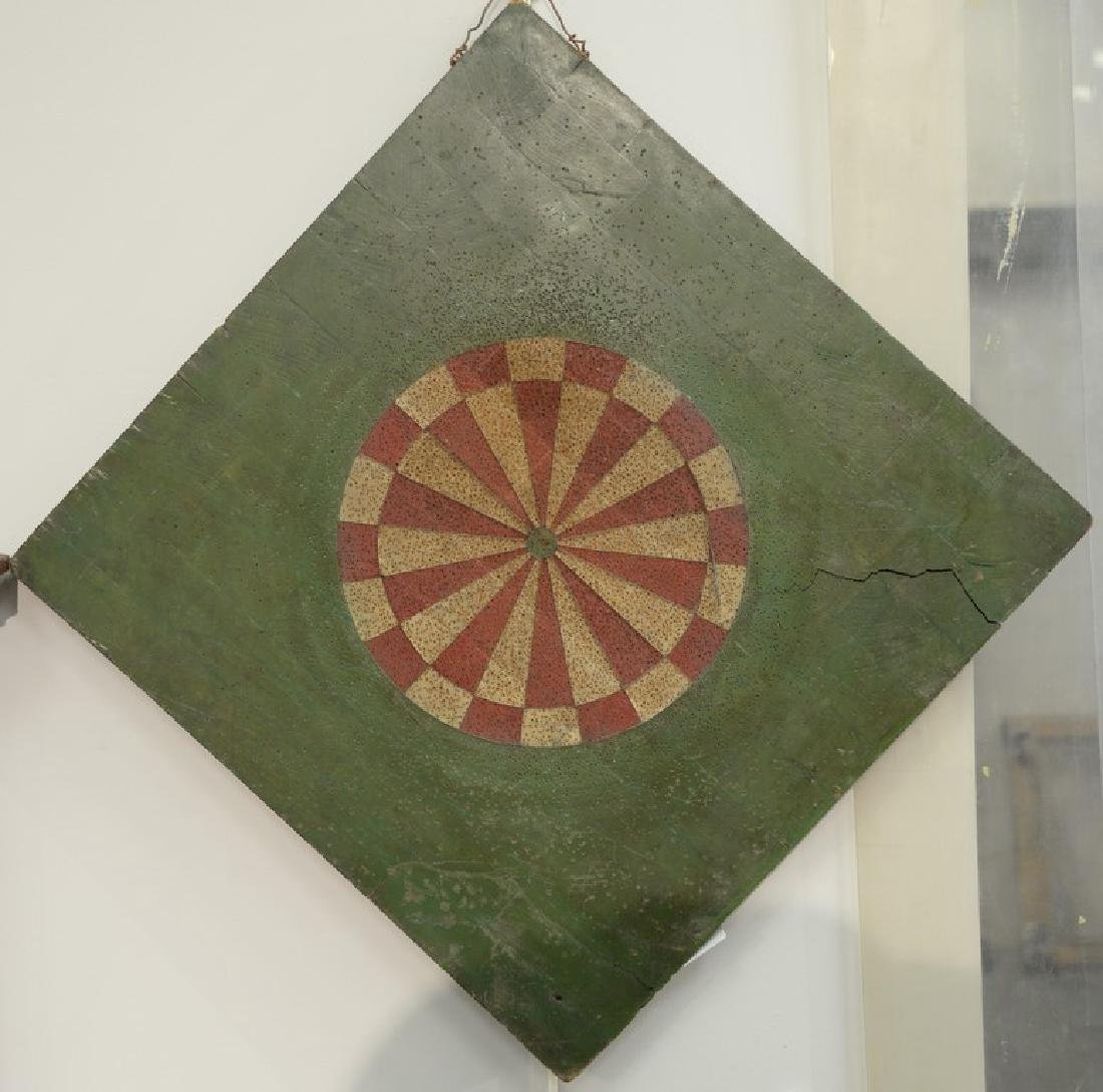 Two Folk Art hand painted two sided dart game boards
