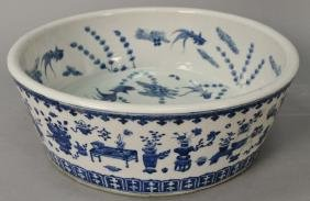 Ming style Chinese blue and white porcelain large bowl