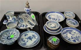 Tray lot of Chinese export blue and white Canton