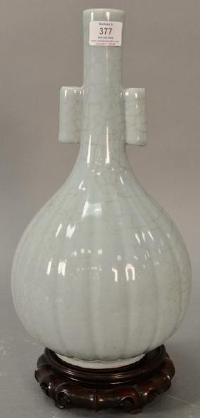 Large Chinese Crackle Glazed Vase, Celedon Green Glaze