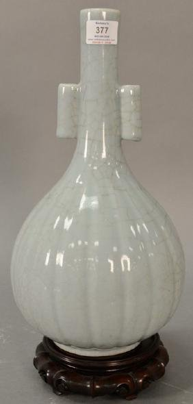 Large Chinese crackle glazed vase, celedon green glaze