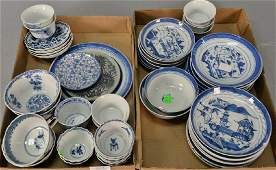 Two tray lots of Chinese export blue and white Canton