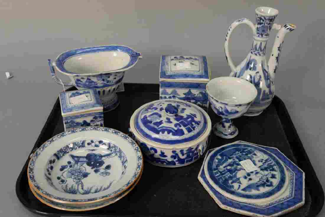 Ten Chinese export blue and white Canton porcelain