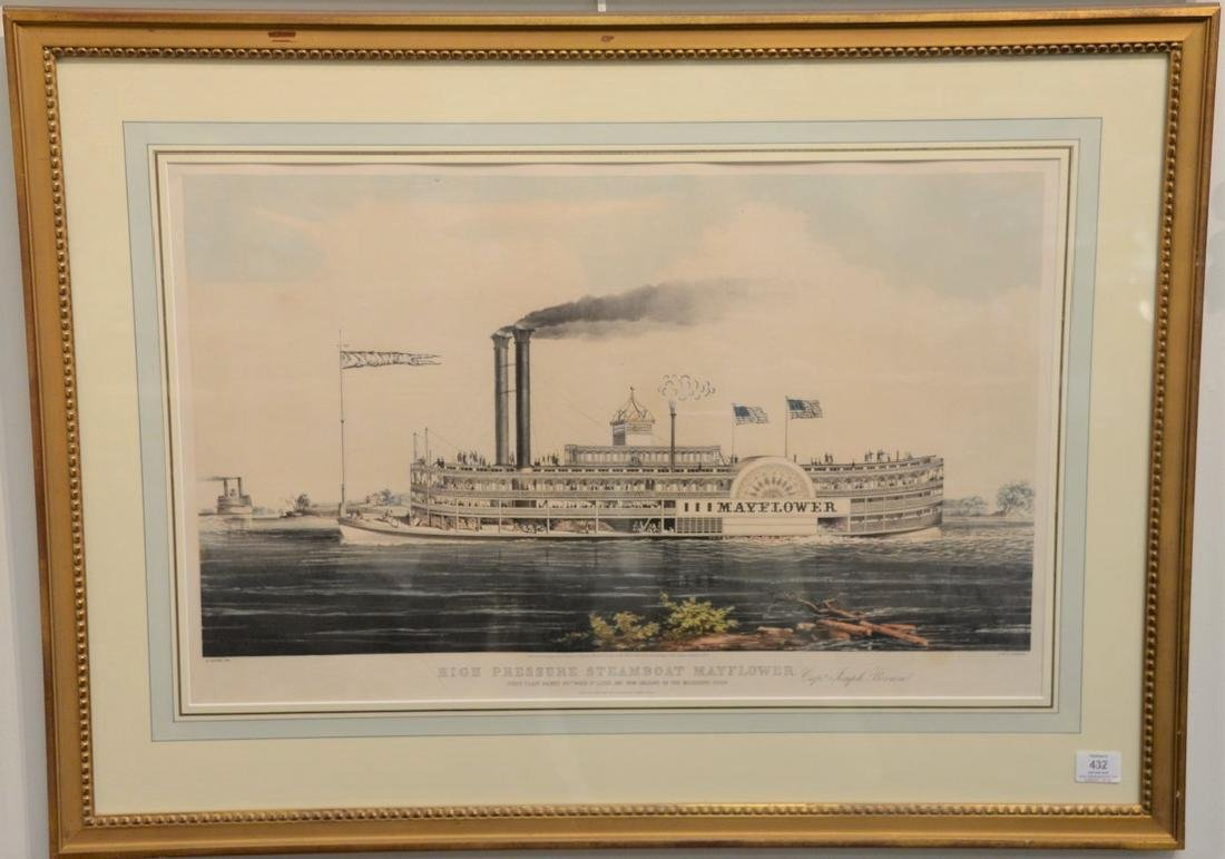 Nathaniel Currier  large folio hand colored lithograph