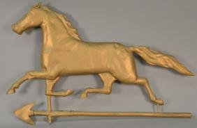 Trotting horse weathervane, repainted gold.  length 29