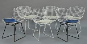 Set of six Bertoia for Knoll wire chairs.