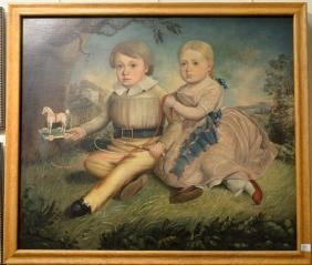 Primitive oil on canvas of two children, boy and girl,