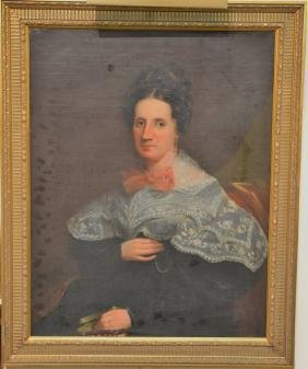 Portrait  oil on canvas  Woman with Pink Bow  unsigned