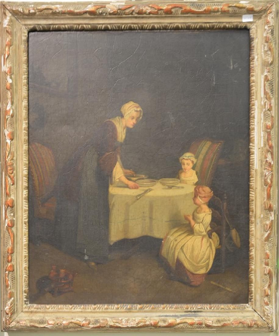 Continental School  oil on canvas  Interior of Woman