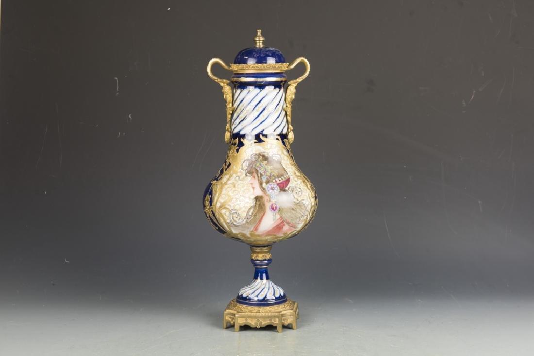 Gilt Porcelain Lidded Vase