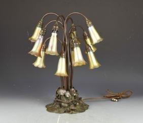 Tiffany Studios Ten-Light LiLy Favrile Glass Lamp