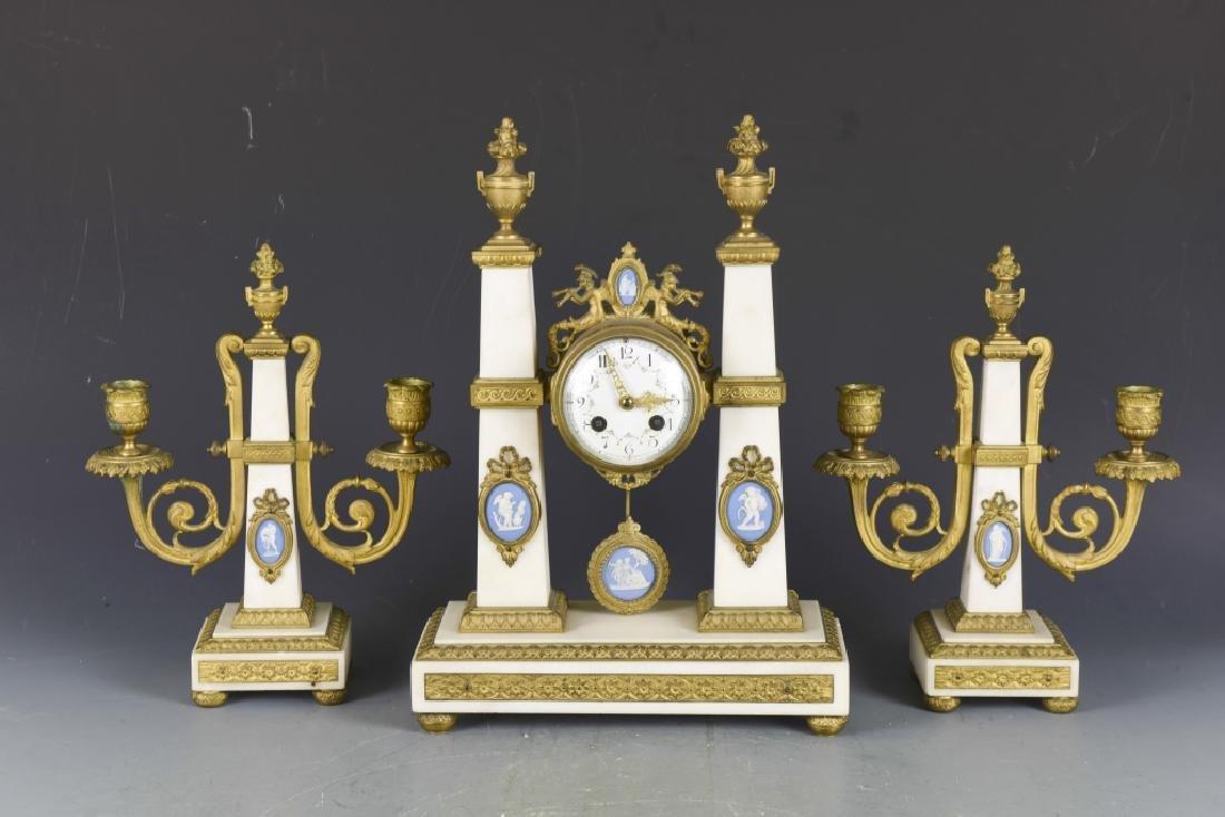 Gilt Bronze and White Marble Clock Set