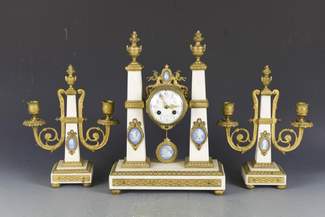Gilt Bronze and White Marble Clock Set