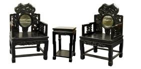 Pair of Chinese Armchairs and Side Table