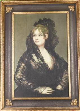 Goya, Oil on Canvas Painting of Lady's Portrait