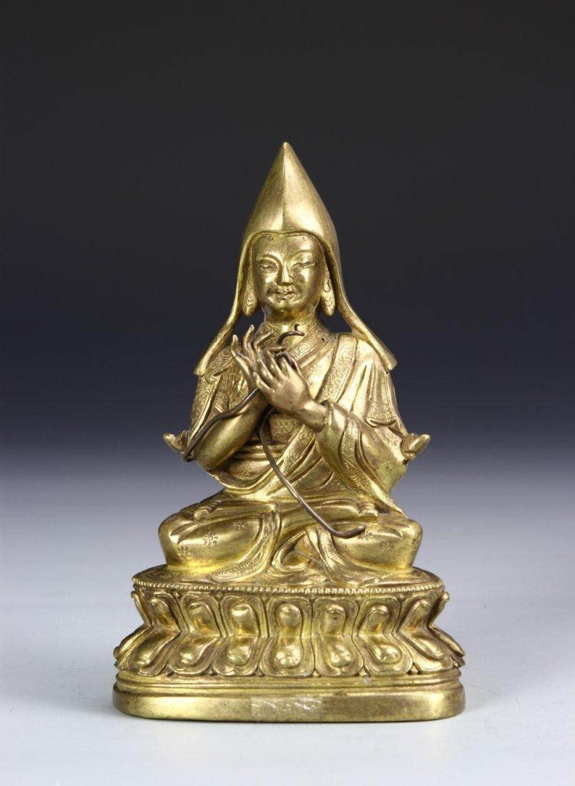 Tibetan Gilt Bronze Lama Buddha Statue