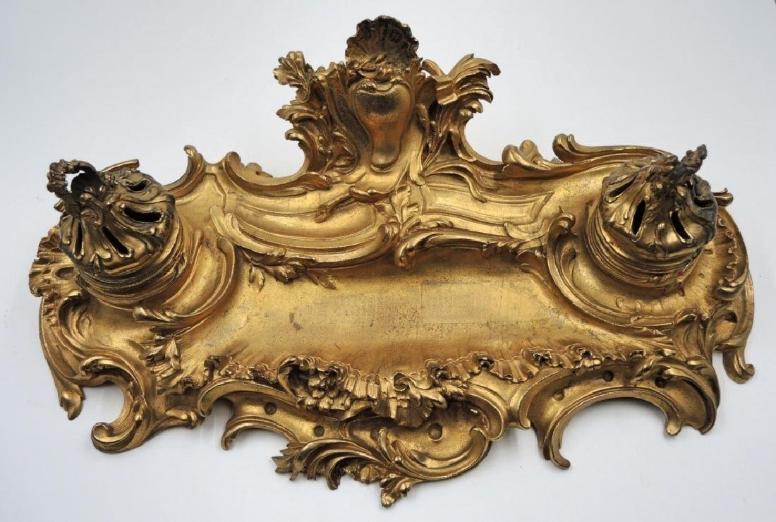 LARGE FRENCH GILDED BRONZE INKWELL