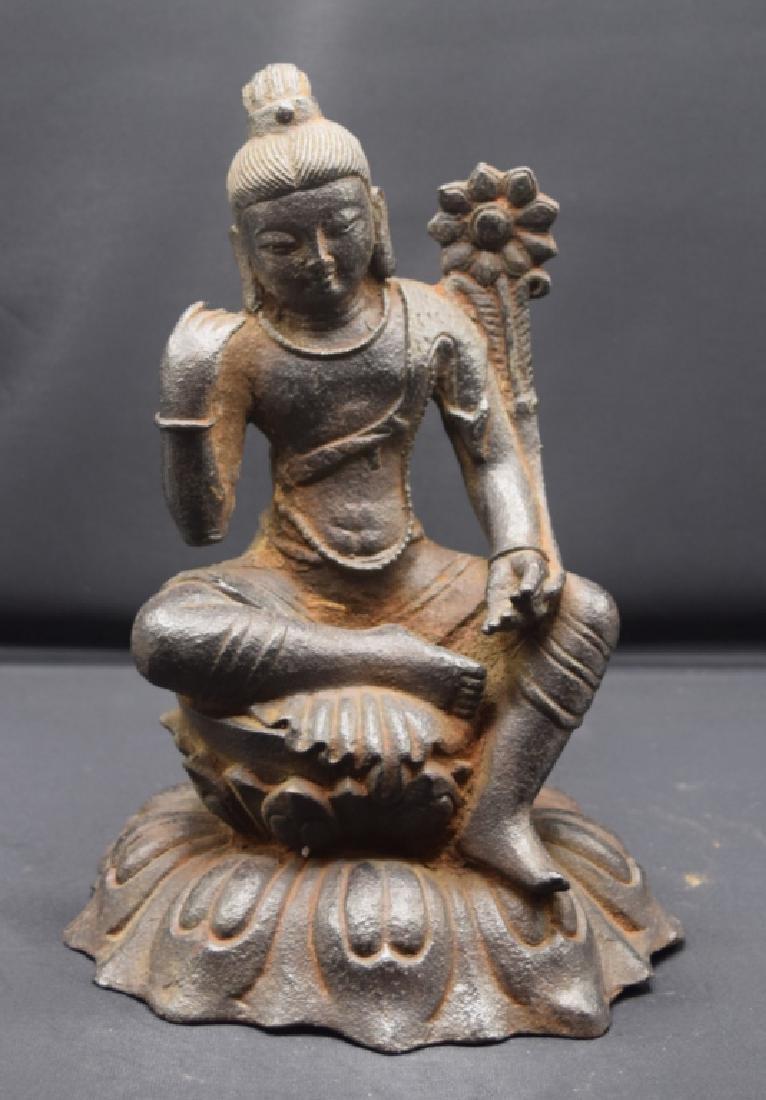 Chinese Iron Cast Buddha Statue
