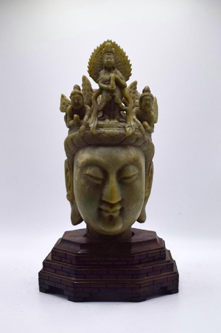 LARGE ANTIQUE CHINESE CARVED JADE BUDDHA HEAD