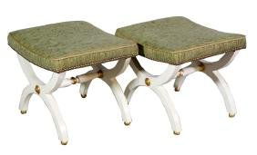 Pair Of Neoclassical Upholstered Stools