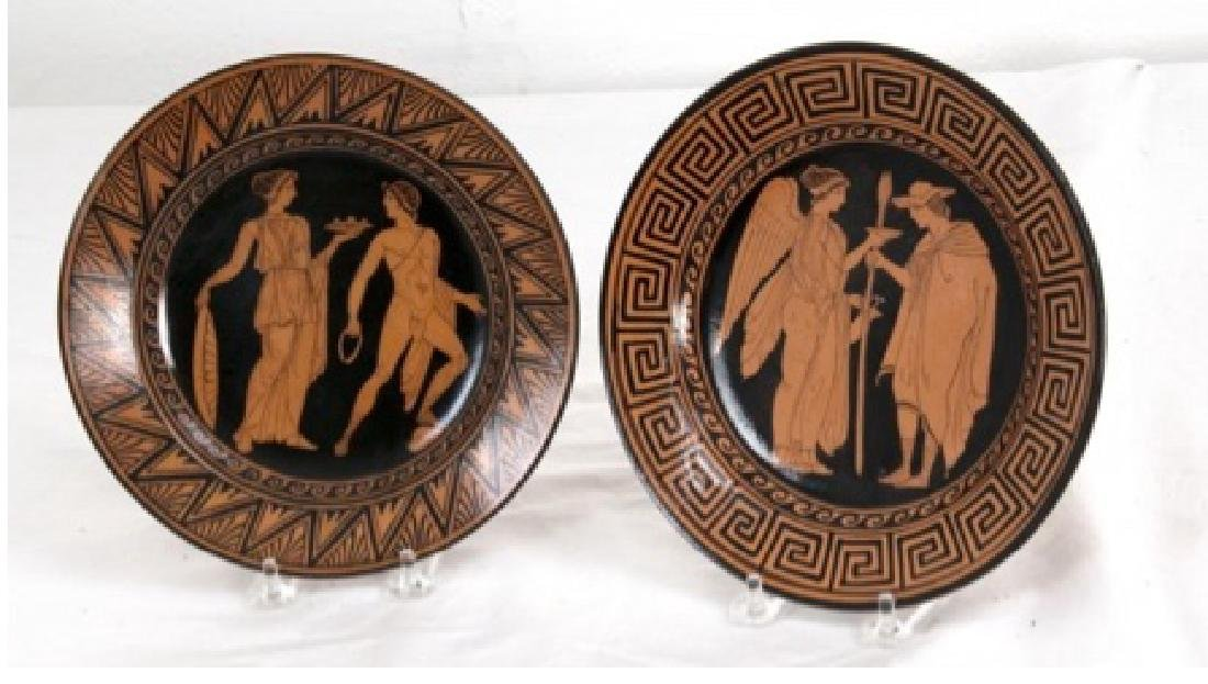 Pair of Naples Italian Giustiniani Pottery Plates