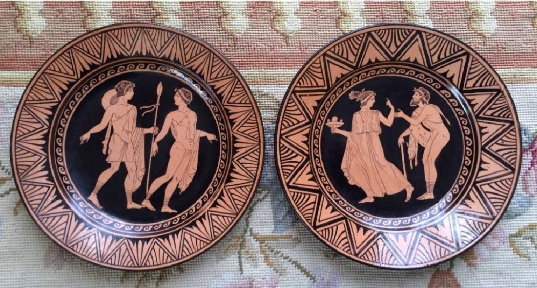 Pair of Naples Italian Giustiniani Pottery Plates - 4